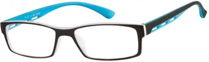 Angle of The Zionsville in Blue, Women's and Men's Rectangle Reading Glasses